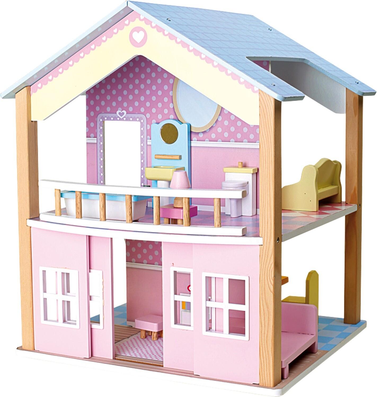 Small Foot Puppenhaus Blaues Dach 2 Etagen, drehbar