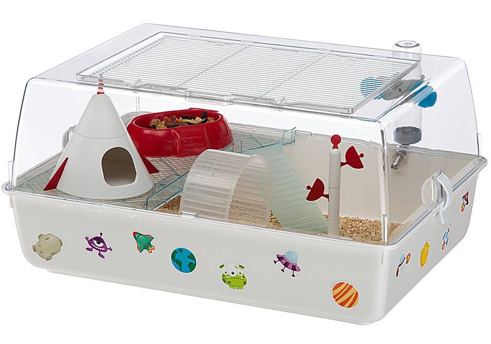 Ferplast Nagerkäfig Hamsterkäfig Mini Duna Magic 55 x 39 cm weiss 9-teilig