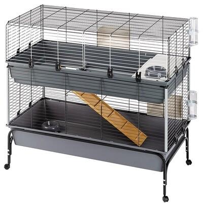 Ferplast Hasenstall Kaninchen-Käfig 118 x 117 cm Stahl grau / schwarz