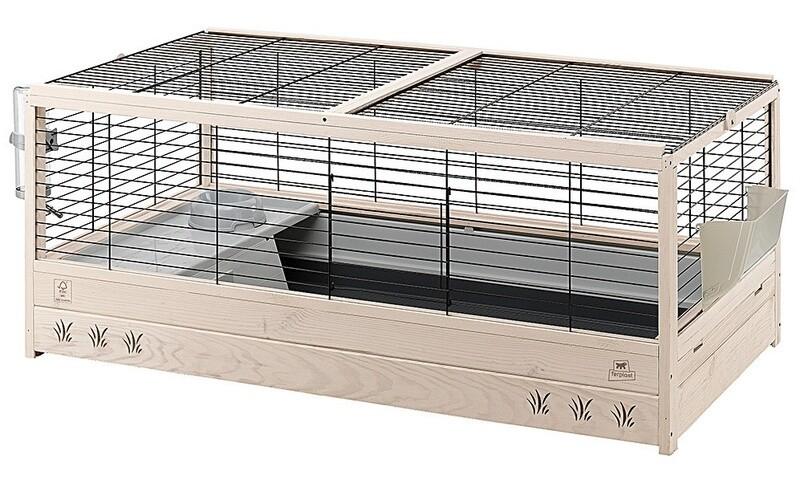Ferplast Kaninchenstall Hasenstall Arena 120 Holz 125 x 64,5 cm natur/grau