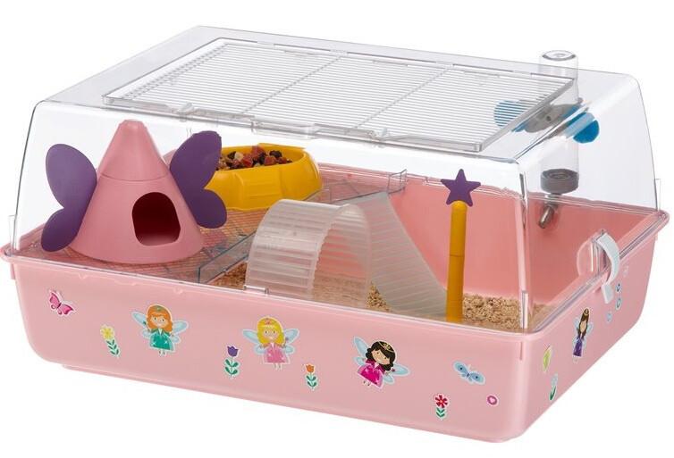 Ferplast Nagerkäfig Hamsterkäfig Mini Duna Magic 55 x 39 cm rosa 9-teilig