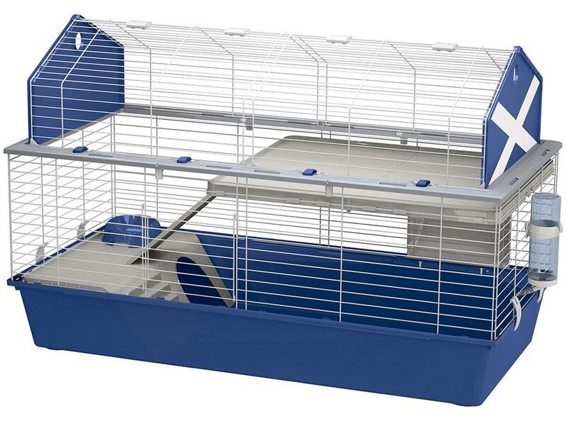 Ferplast Hasenstall Kaninchenstall Käfig Scheune 120 Stahl 119 x 77 cm blau/weiss
