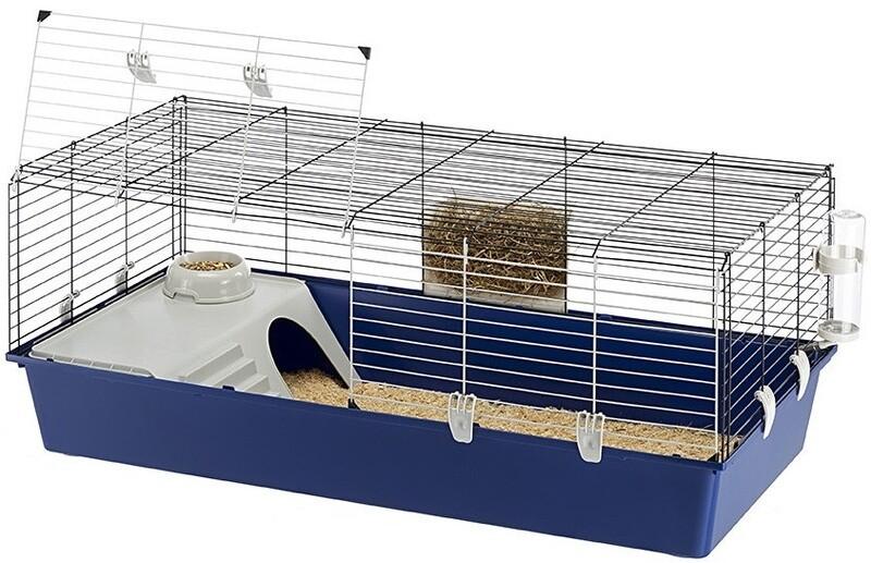 Ferplast Hasenstall Kaninchen Käfig 118 x 58,5 x 49,5 cm stahlblau/grau