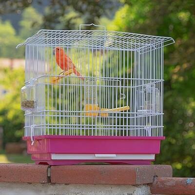 Ferplast Vogelkäfig Giusy 39 x 26 x 37 cm Stahl rosa / weiß