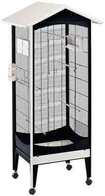 Ferplast Vogelkäfig Voliere Brio Mini 73,5 x 160 cm Stahl schwarz/weiss