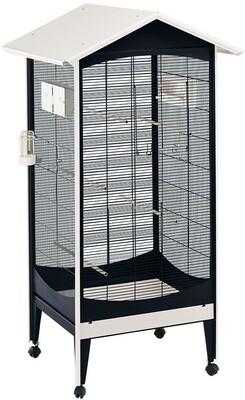 Ferplast Vogelkäfig Voliere Brio Medium 85 x 162 cm Stahl schwarz / weiß