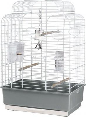 Ferplast Vogelkäfig Gala 50 x 30 x 75,5 cm Stahl grau / weiss