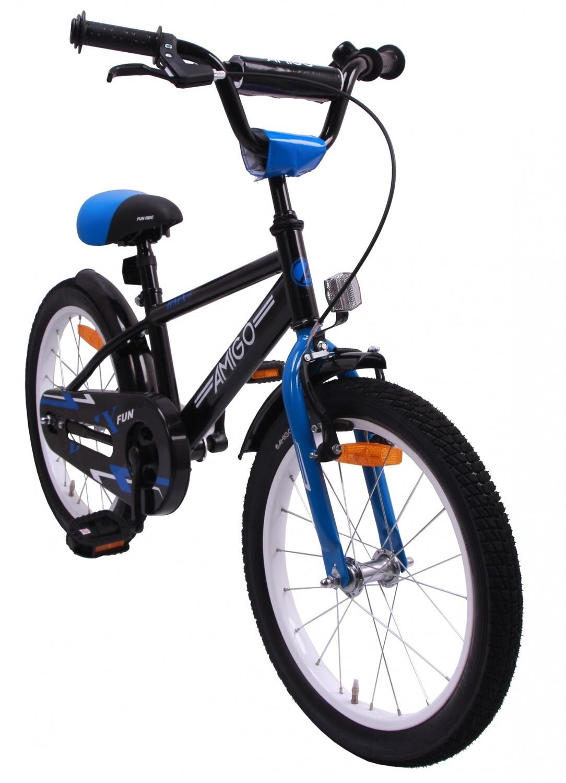 AMIGO BMX Fahrrad / Velo Fun 18 Zoll Rücktrittbremse Schwarz/Blau