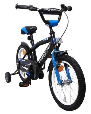 AMIGO BMX Fahrrad / Velo Fun 16 Zoll 28 cm Jungen Rücktrittbremse Schwarz/Blau