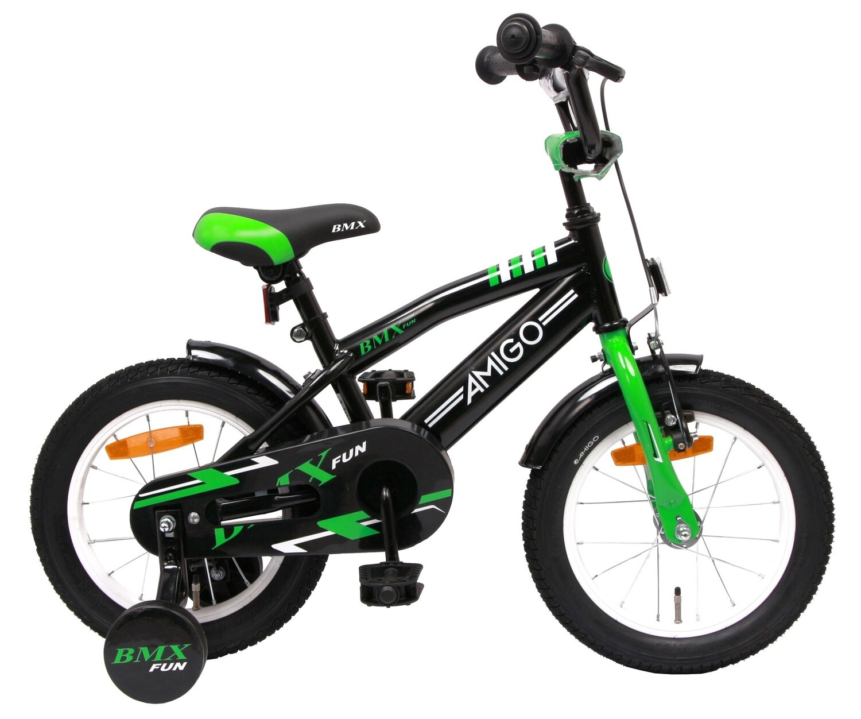 AMIGO BMX Fahrrad / Velo Fun 14 Zoll Rücktrittbremse Grün/Mattschwarz