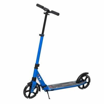 HOMCOM® Kinderroller Scooter Tretroller mit beleuchteten Rädern für 14+ faltbar Blau