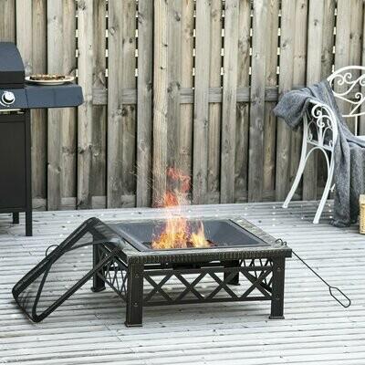 Outsunny® 3-in-1 Feuerschale Feuerkorb mit Funkenschutz Grillrost Garten BBQ Schwarz