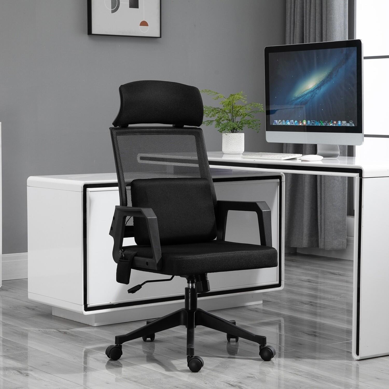 Vinsetto® Massage-Bürostuhl mit Massage Lendenwirbelstütze Kopfstütze Chefsessel Schwarz