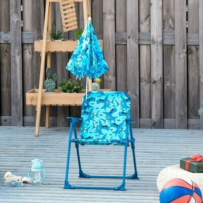 Outsunny® Kinder-Campingstuhl mit Sonnenschirm Strandstuhl klappbar für 1-3 Jahre blau