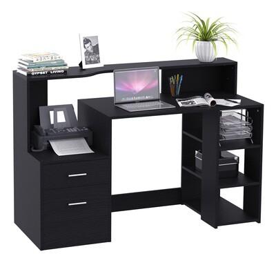 HOMCOM® Schreibtisch Computertisch mit Tischplatte für Drucker Schublade MDF Metall