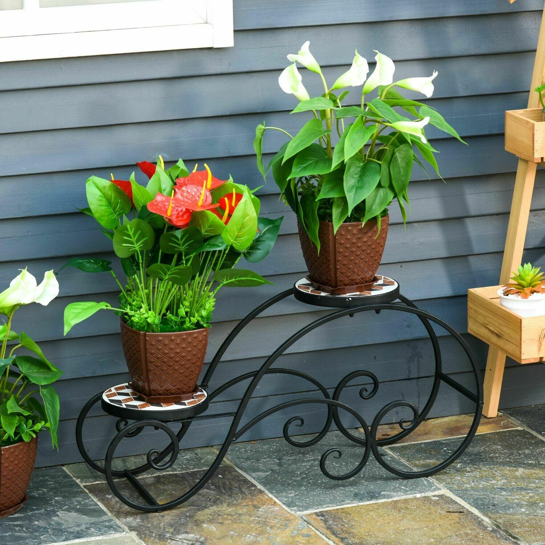 Outsunny® Blumentreppe Pflanzenregal 2 Ablagen Pflanzenständer Retro-Design Deko Metall
