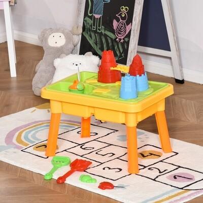HOMCOM® Kinder Sandspielzeug Sandkastentisch mit 23-tlg. Zubehör Spieltisch 3 Jahren PP