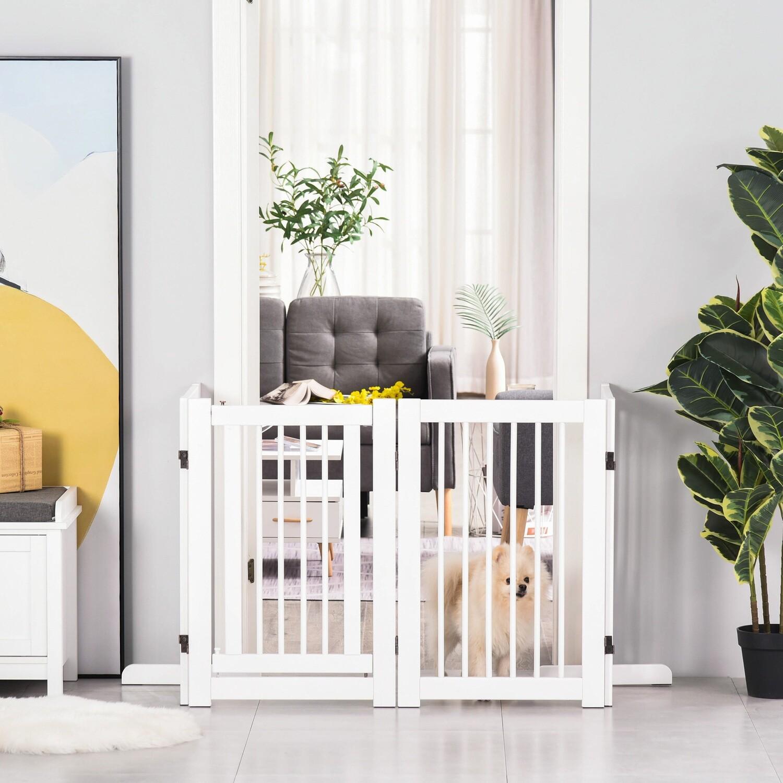 PawHut® Hundeschutzgitter für Tiere Sicherheitsgitter Gehege faltbar 75 cm Weiss