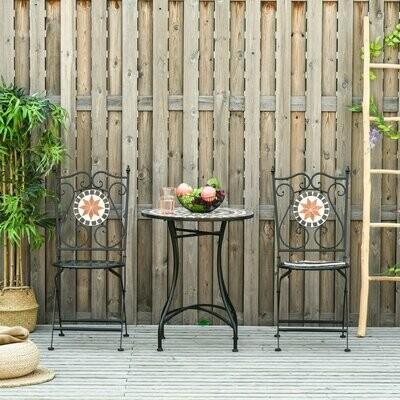 Outsunny® Garten Sitzgruppe 3-teilige Mosaiktisch+2 faltbare Stühle Metall