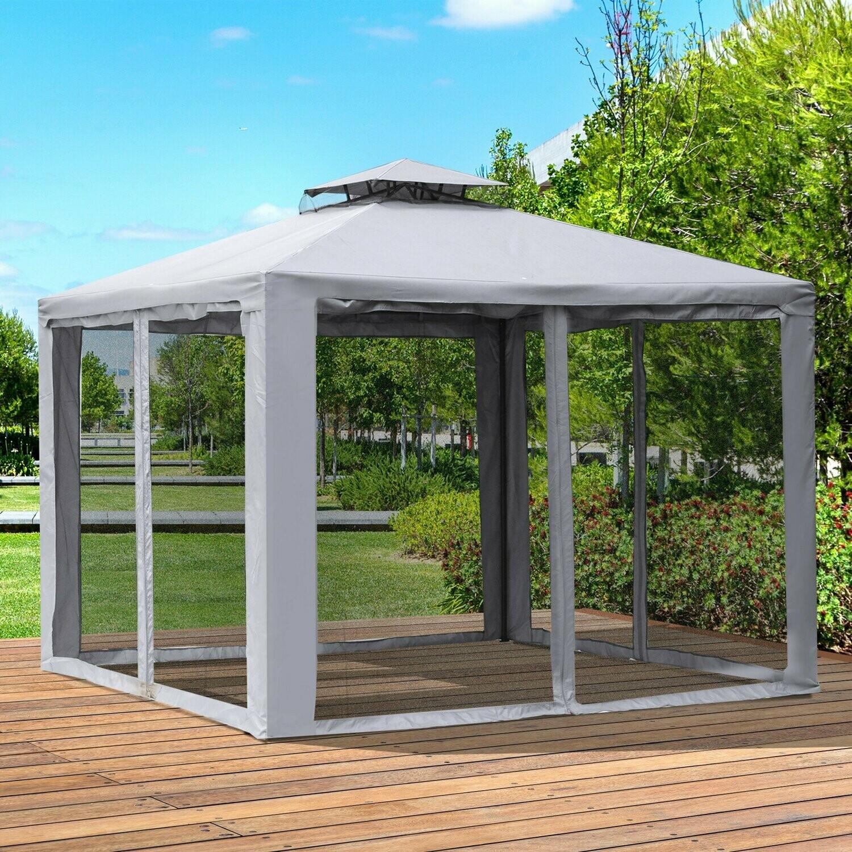 Outsunny® Gartenpavillon Pavillon Festzelt Partyzelt Gartenzelt mit 4 x Seitenwand 3 x 3 m