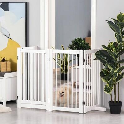 PawHut® Hundeschutzgitter für Tiere freistehende Sicherheitsgitter faltbar Stützfüße Tier Treppe Weiss