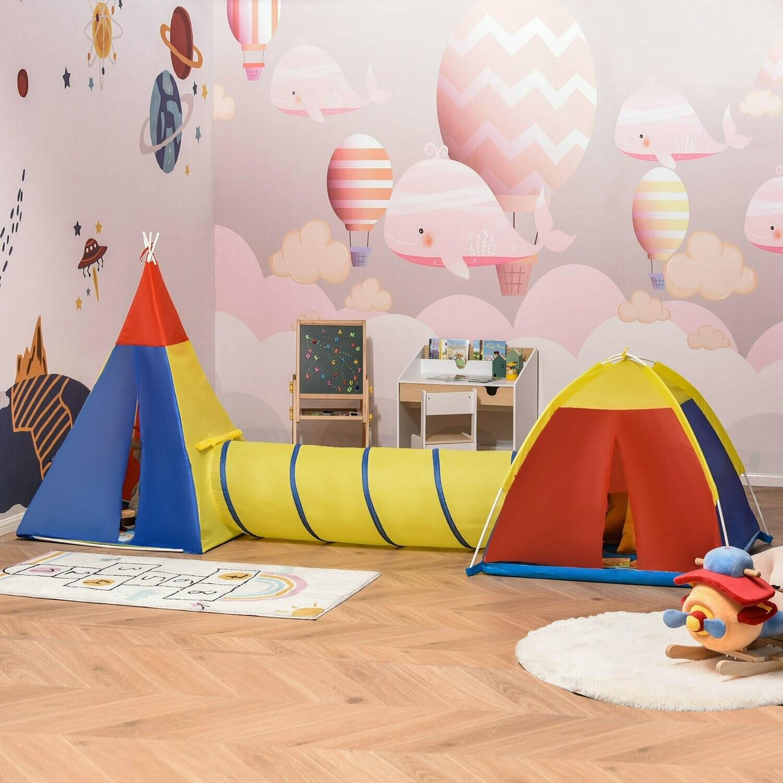 HOMCOM® Spielzelt Kinderzelt mit Tunnel Tragetasche 170T Spielhaus für 3-8 Jahre