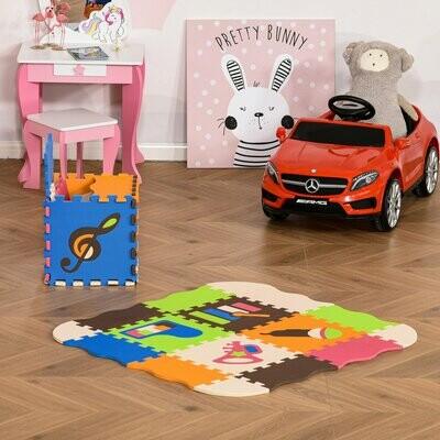HOMCOM® Puzzlematte 25 Teile mit Musikinstrumenten Kinderspielteppich Bodenmatte EVA Bunt