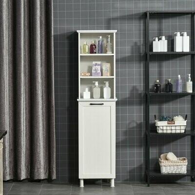HOMCOM® Badezimmerschrank Badschrank Highboard mit Wäschekorb Regale