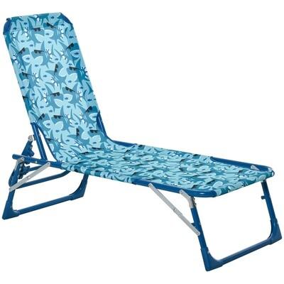 Outsunny® Kinder Sonnenliege 180° verstellbar Gartenliege Klappbar für 2-8 Jahre Blau