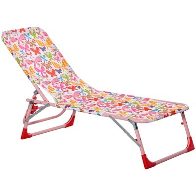 Outsunny® Kinder Sonnenliege 180° verstellbar Gartenliege Klappbar für 2-8 Jahre Rosa
