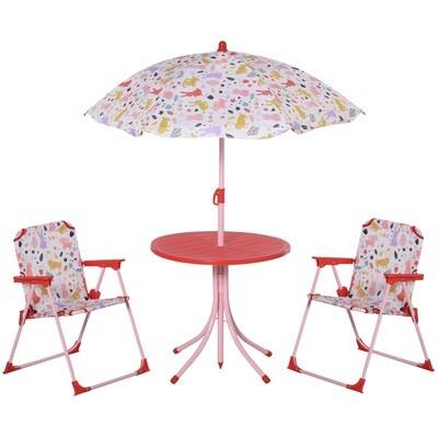 Outsunny® 4tlg. Kindersitzgruppe Gartentisch 2 Klappstühle Sonnenschirm 3-8 Jahre Rot