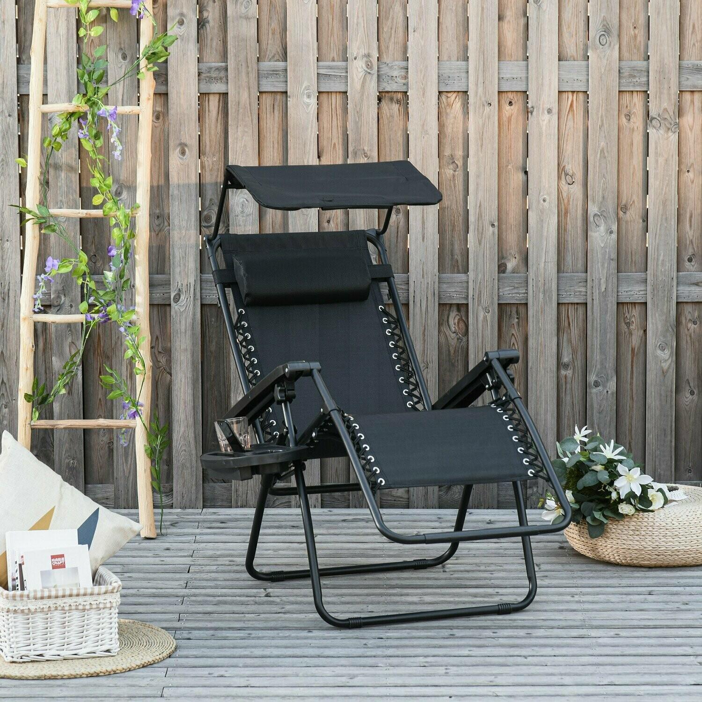 Outsunny® Zero Gravity Liege Sonnendach Klappbare Gartenliege Kopfkissen Texteline Schwarz