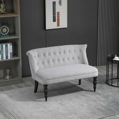 HOMCOM® 2-Sitzer Couch Stoffsofa Polstersofa Sitzmöbel Loveseat Vintage Holz Grau