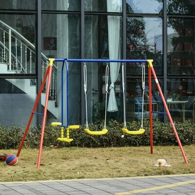 Outsunny® Kinderschaukel Gartenschaukel 2 Schaukeln mit Wippe höhenverstellbar 3-8 Jahre