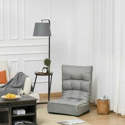 HOMCOM® Bodenstuhl Bodensessel Rückenlehne verstellbar modern für Wohnzimmer Büro Grau