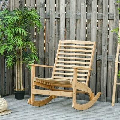 Outsunny® Garten Schaukelstuhl Relaxsessel Gartenstuhl Bambus Sperrholz Weiss