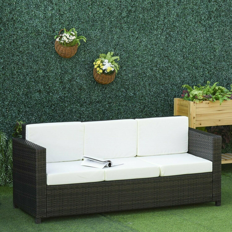 Outsunny® Poly-Rattan Sofa mit Kissen 3-Sitzer Garten Loungesofa Metall Polyester Braun