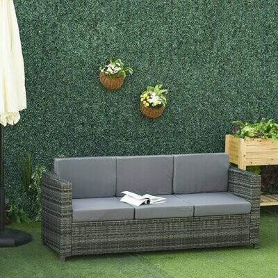 Outsunny® Poly-Rattan Sofa mit Kissen 3-Sitzer Garten Loungesofa Metall Polyester Grau