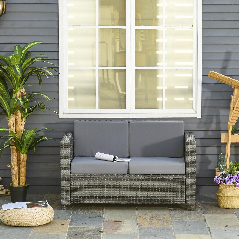 Outsunny® Poly-Rattan Sofa mit Kissen 2-Sitzer Garten Loungesofa Metall Polyester Grau