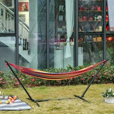 Outsunny® Hängematte mit Gestell 200x150cm Höhenverstellbar Tragetasche Baumwolle Outdoor