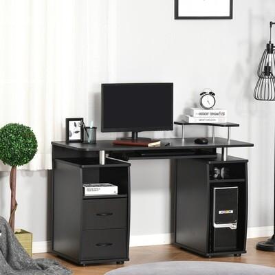 HOMCOM® Computertisch Schreibtisch mit Schubladen Home Office Stauraum Schwarz