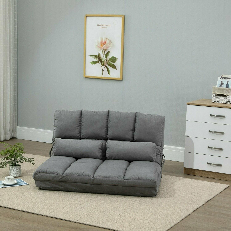 HOMCOM® Bodenstuhl 2-in-1 Bodensessel Bett mit Rückenlehne 7 Positionen Verstellbar Gästebett