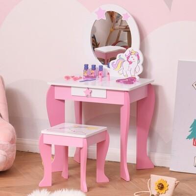 HOMCOM® 2-Set Kinderschminktisch mit Hocker Frisiertisch mit Schublade MDF