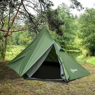 Outsunny® Zelt für 2 Personen Campingzelt Polyester Glasfaser Dunkelgrün