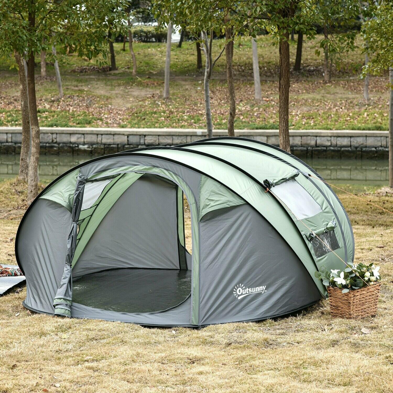 Outsunny® Zelt für 4-5 Personen Campingzelt Kuppelzelt Polyester Dunkelgrün