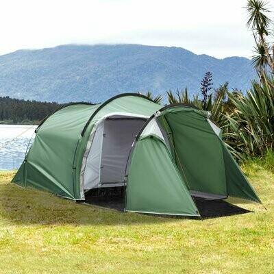 Outsunny® Zelt für 3-4 Personen 190T Tunnelzelt Campingzelt Glasfaser Dunkelgrün