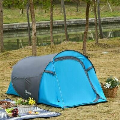 Outsunny® Pop up Zelt für 1-2 Personen Campingzelt 3 Jahreszeiten Glasfaser Blau+Grau