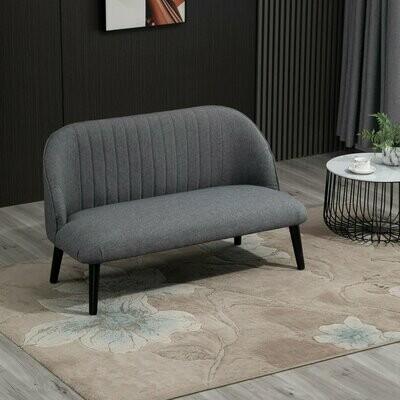 HOMCOM® 2-Sitzer Sofa Stoffsofa Doppelsofa Leinen-Berührung Schaumstoff Hellgrau