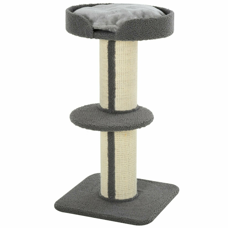 PawHut® Katzenbaum Spielbaum Kratzstamm mit Plattform Sisal Lammkaschmir Grau