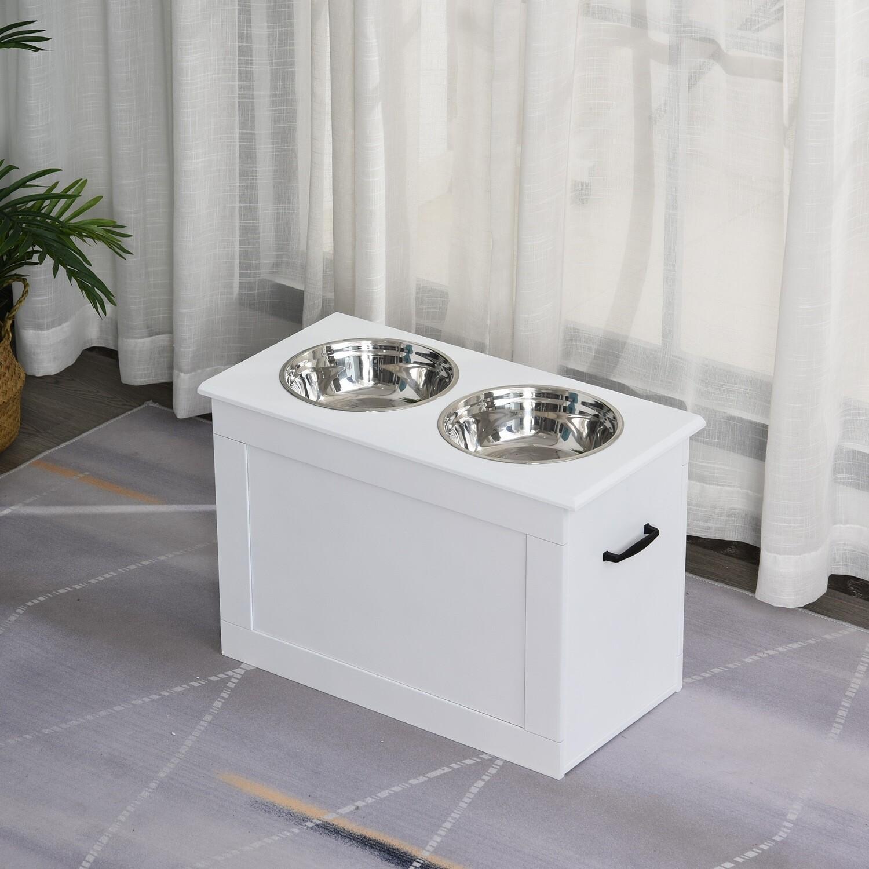 PawHut® Hunde Fressnapf mit Stauraum 2 Näpfen Futterstation Katzenapf MDF Edelstahl